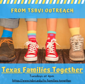 Image shows the legs of 2 adults and one child wearing colorful shoes and socks. The text on the image reads