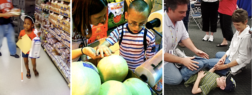 Collage of 3 images: young girl with cane holding a loaf of bread in a grocery store; boy with glasses examining melons; teacher and parent with boy lying on the floor.